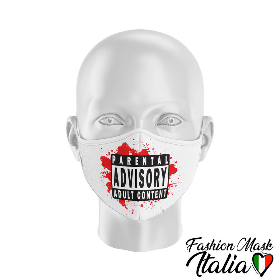 Fashion Mask Parental Advisory 3 Strati 100% Cotone con Filtro intercambiabile in TNT (2 Mascherine+20 Filtri)