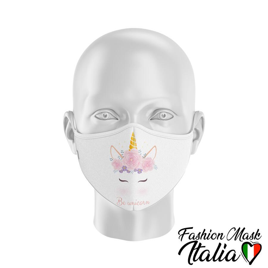 Fashion Mask Be Unicorn 3 Strati 100% Cotone con Filtro intercambiabile in TNT (2 Mascherine+20 Filtri)