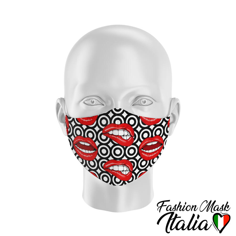 Fashion Mask Lips Retrò 3 Strati 100% Cotone con Filtro intercambiabile in TNT (2 Mascherine+20 Filtri)