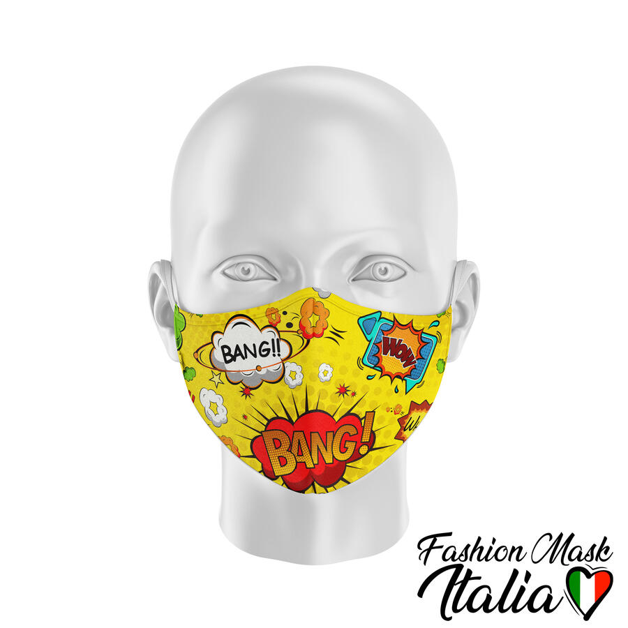 Fashion Mask Bang Comics 3 Strati 100% Cotone con Filtro intercambiabile in TNT (2 Mascherine+20 Filtri)
