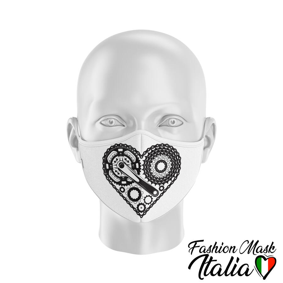 Fashion Mask Bike Heart 3 Strati 100% Cotone con Filtro intercambiabile in TNT (2 Mascherine+20 Filtri)