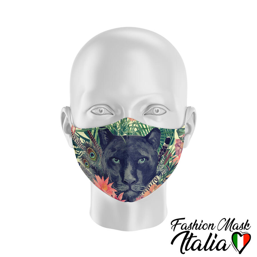 Fashion Mask Exotic Panther 3 Strati 100% Cotone con Filtro intercambiabile in TNT (2 Mascherine+20 Filtri)