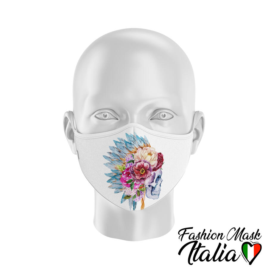 Fashion Mask Indian Skull Flower 3 Strati 100% Cotone con Filtro intercambiabile in TNT (2 Mascherine+20 Filtri)