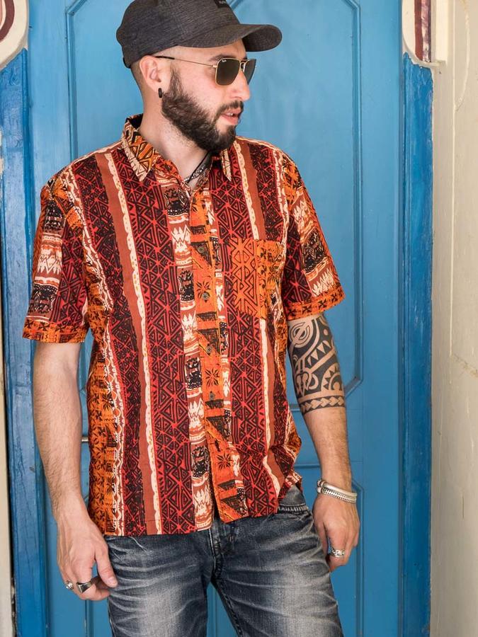 Budhil man shirt short sleeve - ethnic orange