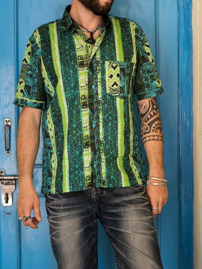 Budhil man shirt short sleeve - ethnic green