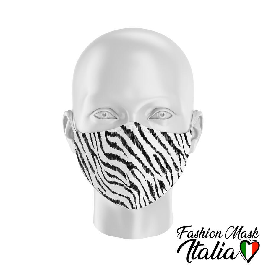 Fashion Mask Animalier Zebra 3 Strati 100% Cotone con Filtro intercambiabile in TNT (2 Mascherine+20 Filtri)