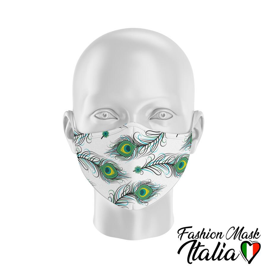 Fashion Mask Animalier Peacock 3 Strati 100% Cotone con Filtro intercambiabile in TNT (2 Mascherine+20 Filtri)
