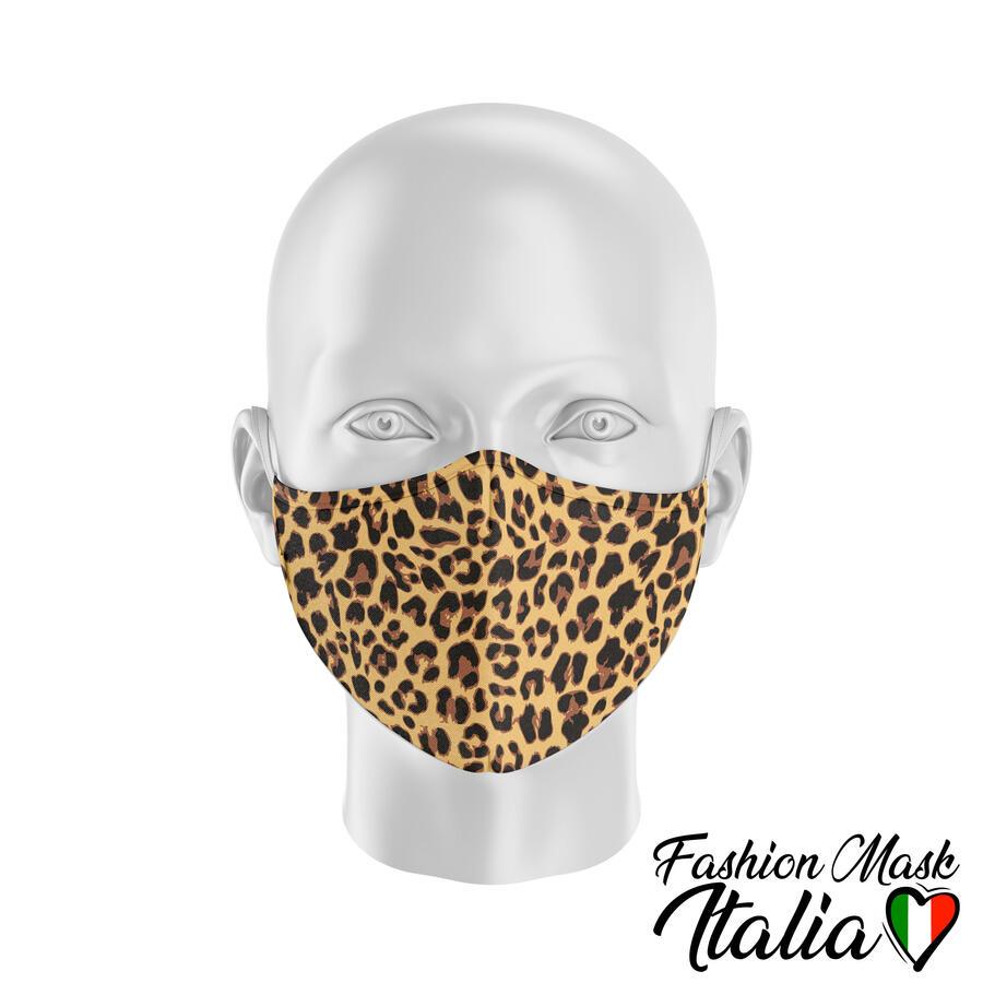 Fashion Mask Animalier Leopard 3 Strati 100% Cotone con Filtro intercambiabile in TNT (2 Mascherine+20 Filtri)