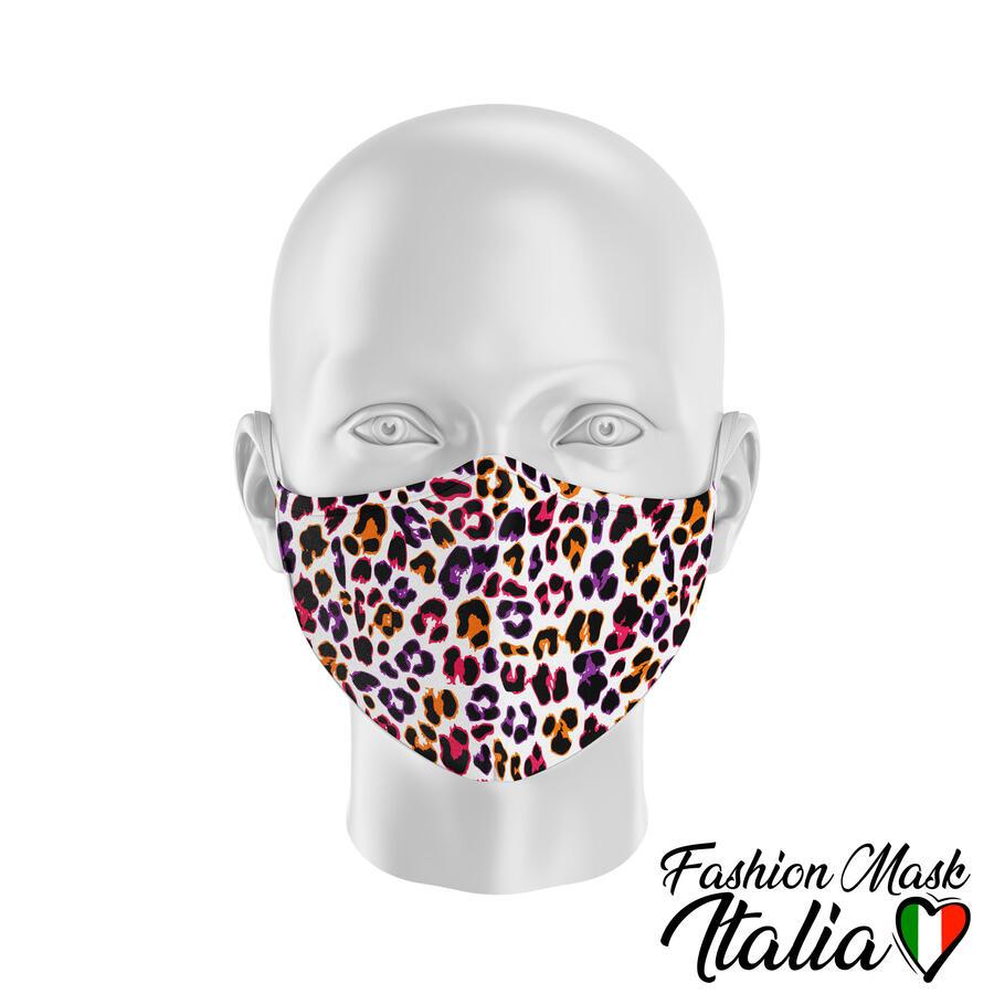 Fashion Mask Animalier Leopard Color 3 Strati 100% Cotone con Filtro intercambiabile in TNT (2 Mascherine+20 Filtri)