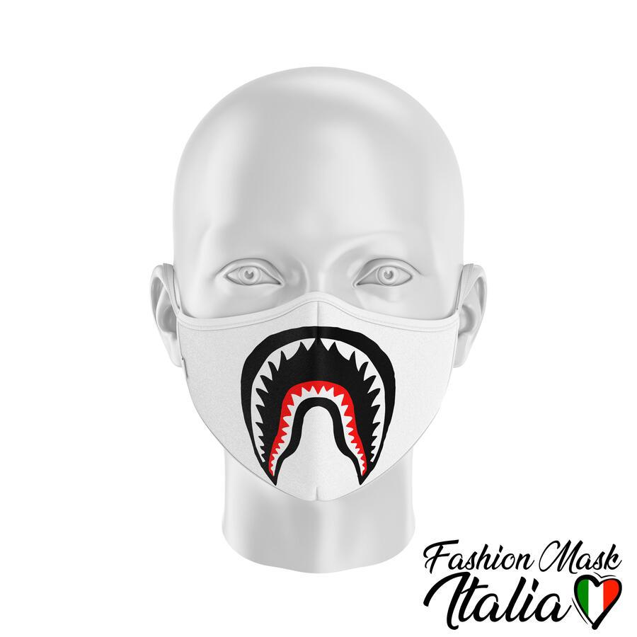 Fashion Mask Comic Shark Color 3 Strati 100% Cotone con Filtro intercambiabile in TNT (2 Mascherine+20 Filtri)
