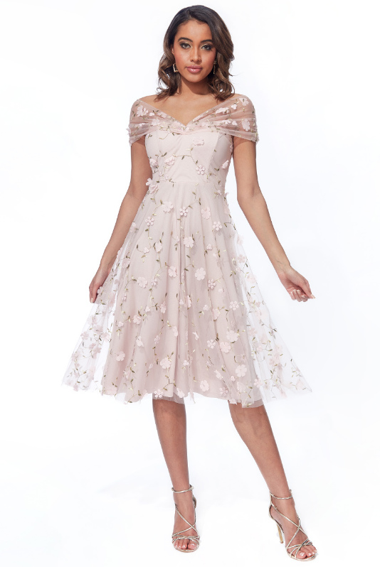 0594 FLARED CHIFFON DRESS LINED WITH 3D ROSES