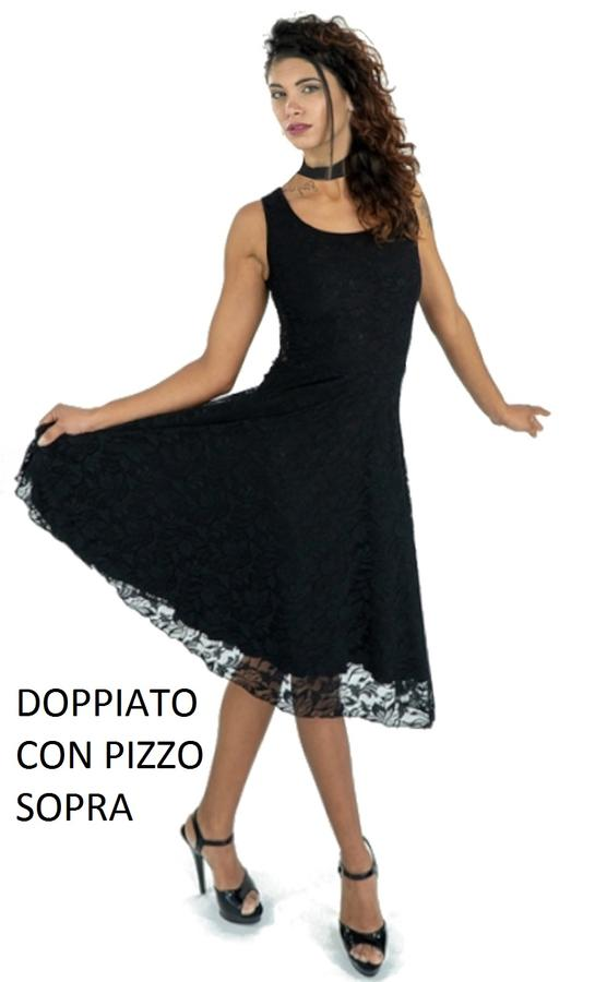 DOLL DRESS IN DOUBLE LACE OR IN BLACK ELASTIC JERSEY 4-0128