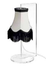 Lume Paola di Emporium in PMMA Trasparente e Tessuto con Frange, Varie Finiture – Offerta di Mondo Luce 24