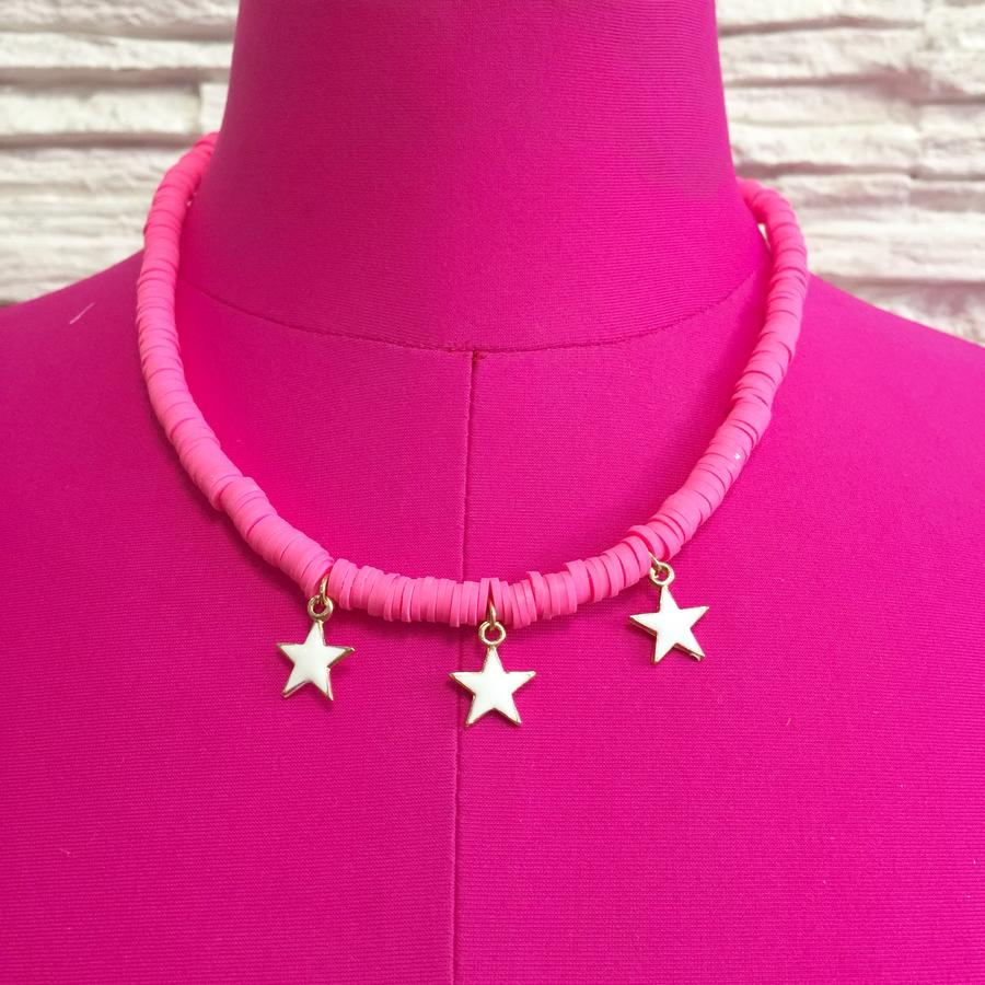 Collana perline Heishi 6 mm rosa