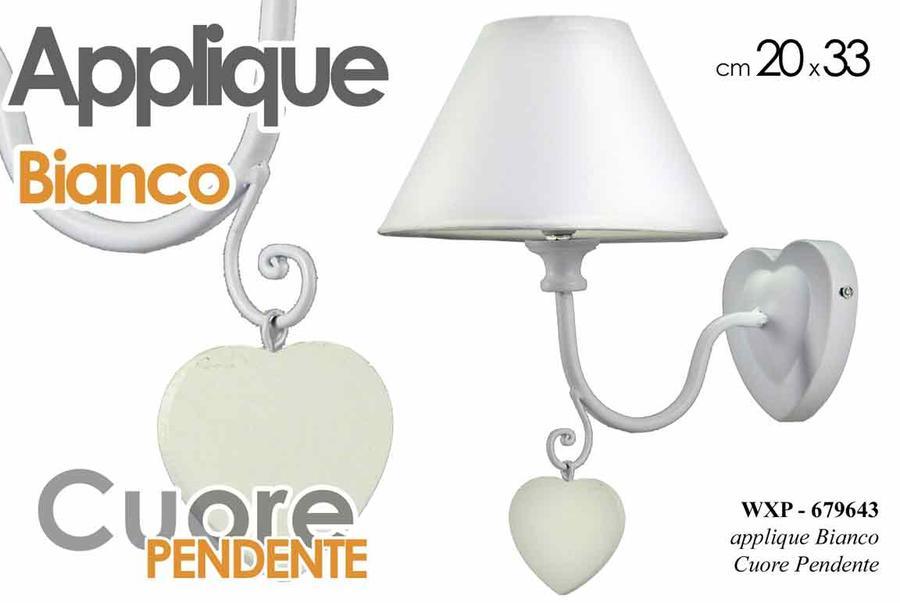 Lampada Applique Plafoniera Metallo Bianco o Tortora Cuore Pendente Lumetto H33x20 cm