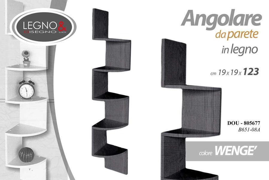 Mensola Angolare da Parete Modulo da Muro in Legno Bianco Wengè Arredo 19x123cm