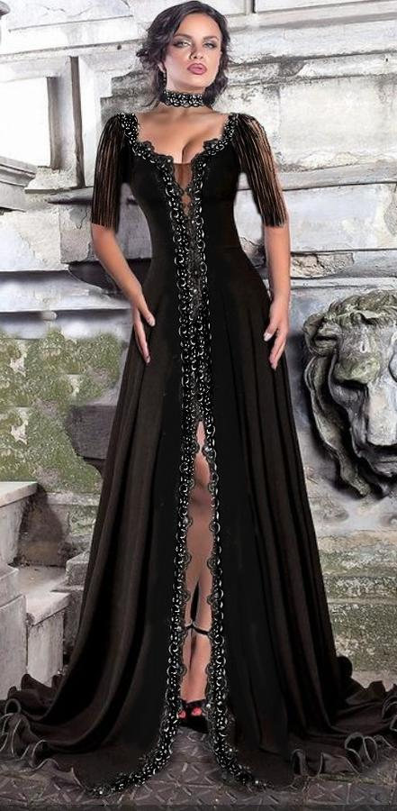 0607 LONG BELL DRESS IN ELASTIC CREPE AND MACRAME LACE WITH SPLIT