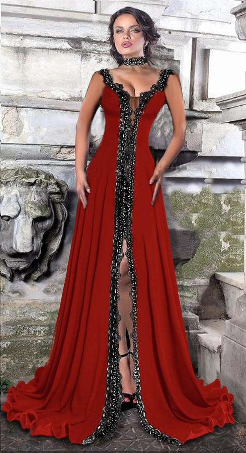 0612 LONG BELL DRESS IN ELASTIC CREPE AND MACRAME LACE WITH SPLIT