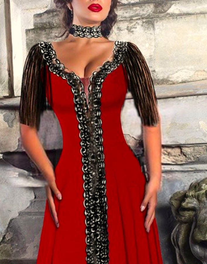 0615 MEDIUM DRESS IN ELASTIC CREPE AND MACRAME LACE WITH SPLIT