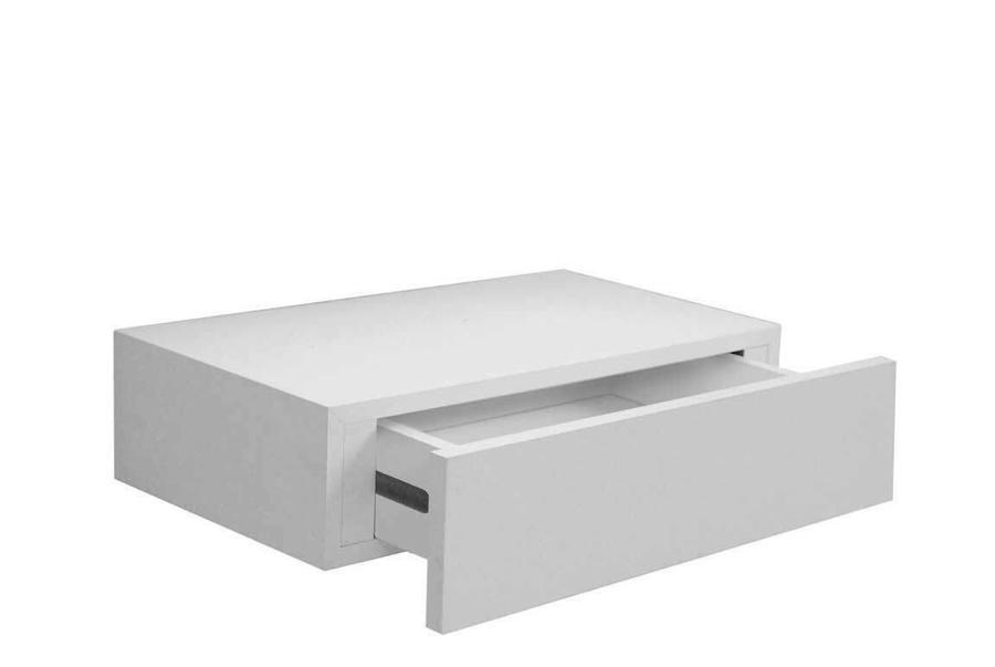 Mensola da Parete con Cassetto Libreria Pensile Scaffale in Legno Bianco o Rovere da Muro