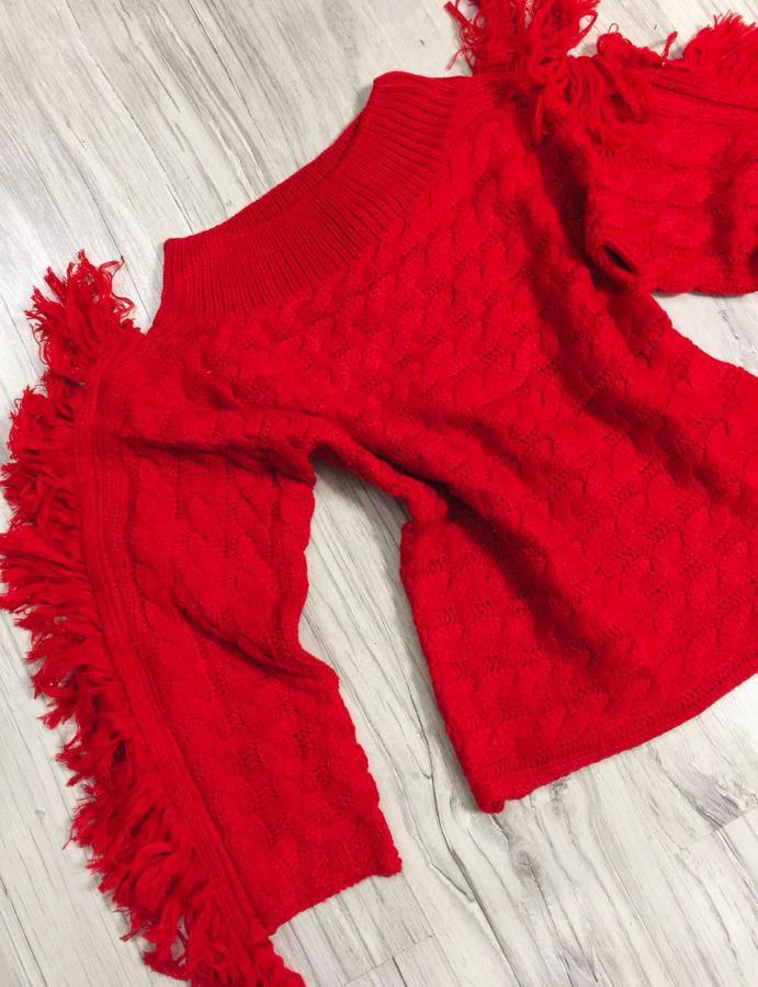 Maglione con franze laterali