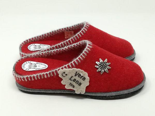 Ciabatta Lana Stella Alpina Rosso - LE TIROLESI