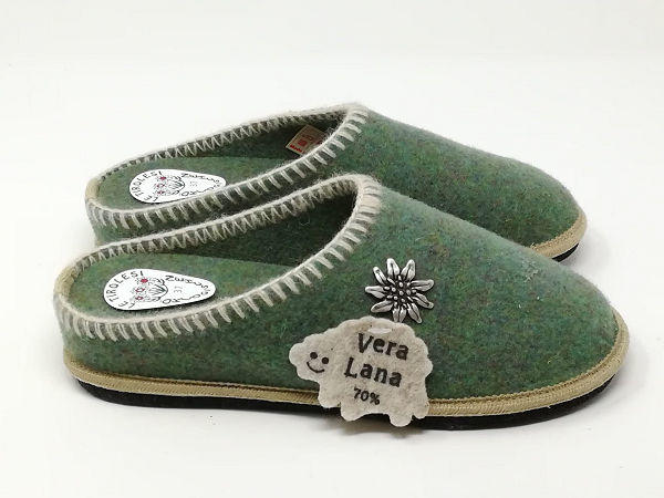 Ciabatta Lana Stella Alpina Verde - LE TIROLESI