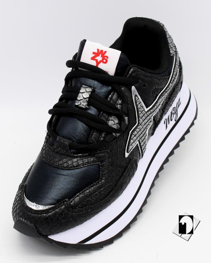 W6yz Debby-w Sneaker in tessuto tecnico con stampa bianco-argento o nero-grigio ***