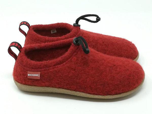 Pantofola Lana Cotta Rosso - BIOLINE
