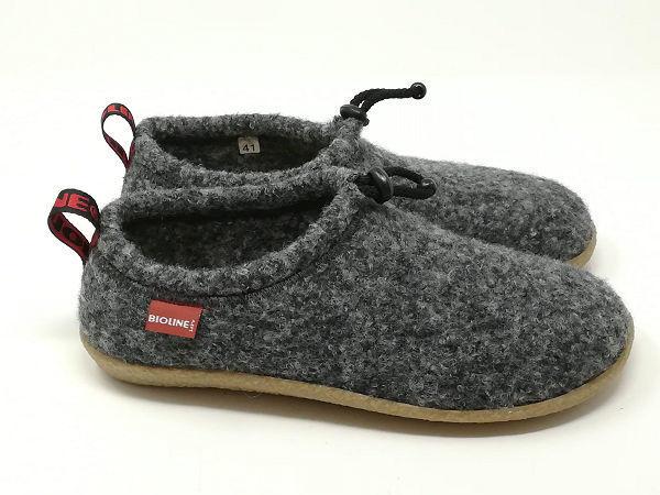Pantofola Lana Cotta Antracite - BIOLINE