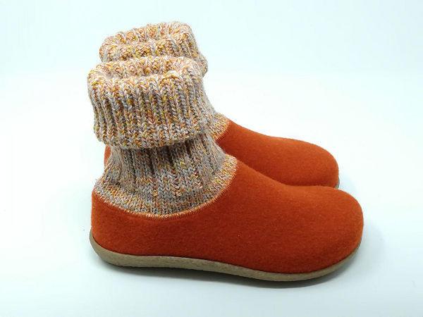 Pantofola Lana Cotta Arancio - BIOLINE