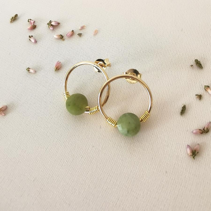 Orecchini in gold-filled con tondo e pietra [ + colori ]