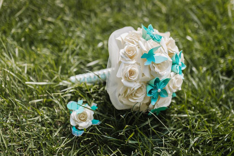 Bouquet fiori carta Ø 25 cm h 30 cm circa