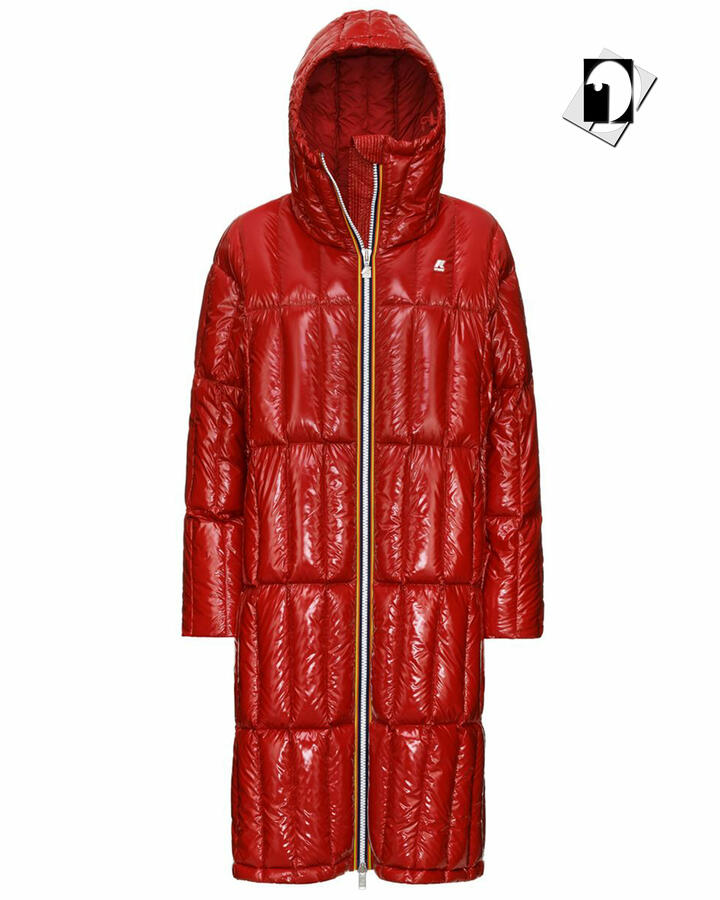 K-Way K111GFW Sidoine Warm Shiny Quilted black pure oppure red vermillion