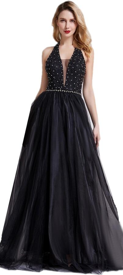 0648 LARGE DRESS AT THE BOTTOM IN LINED TULLE WITH BODY WITH RHINESTONES