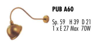 Applique per Esterno Pub di Febo in Ottone Lavorato con Parabola per Insegne, Varie Misure - Offerta di Mondo Luce 24