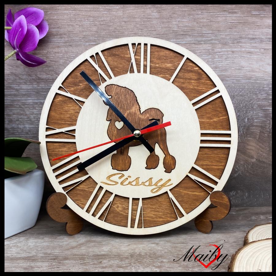 Orologio rotondo in legno, personalizzato (silhouette e nome)