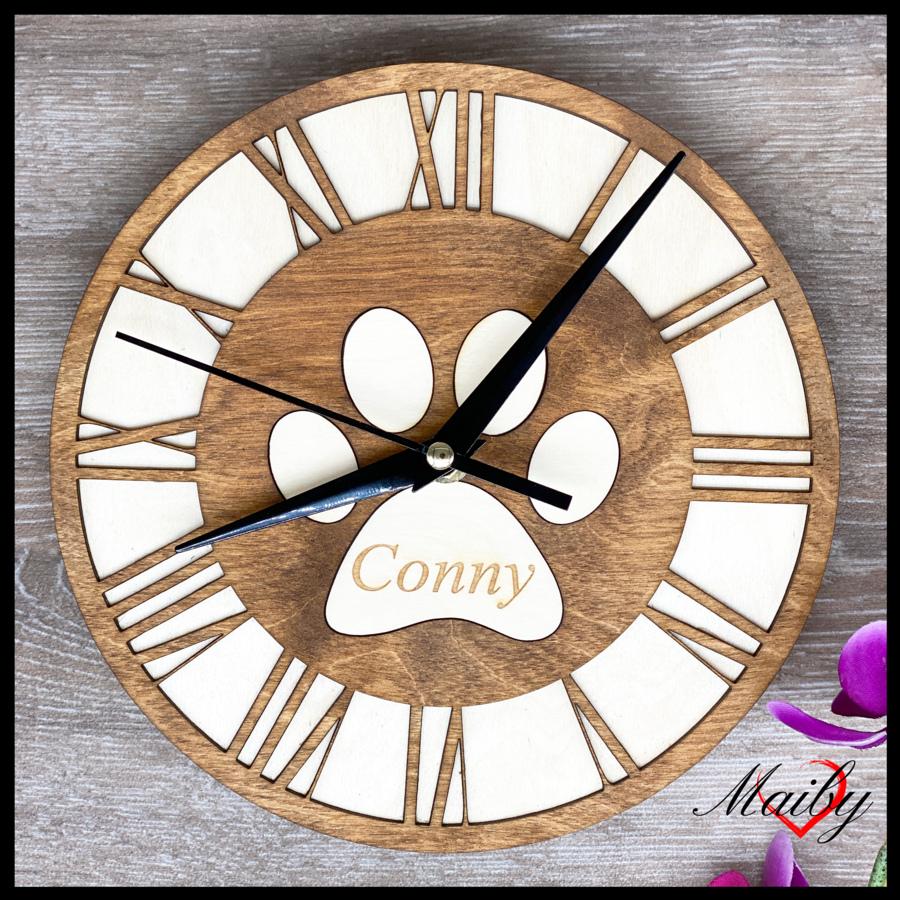 Orologio rotondo in legno, personalizzato (zampa)