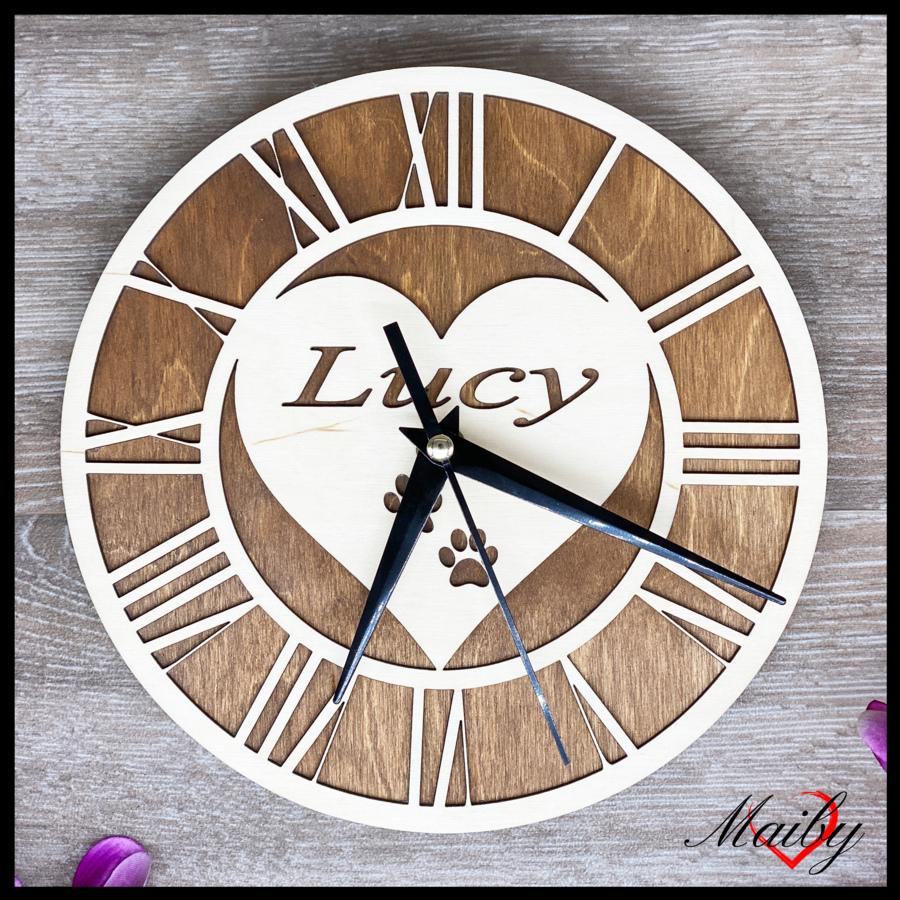 Orologio rotondo in legno, personalizzato (cuore)