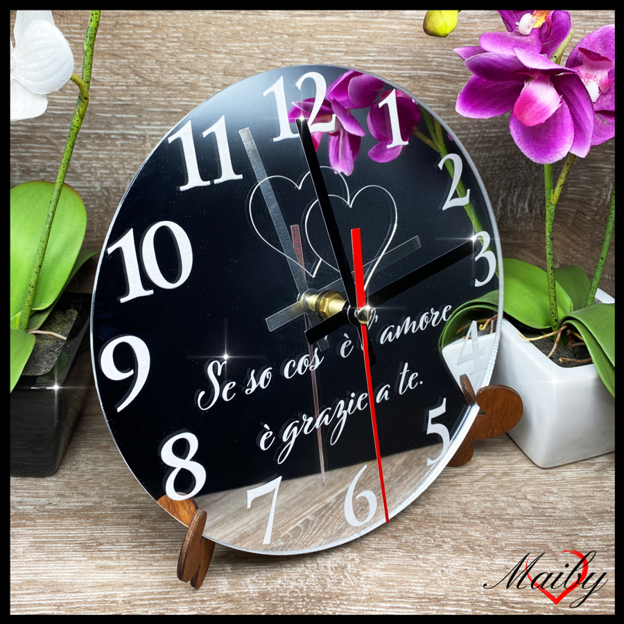 Orologio rotondo in plexiglass specchiato (Se so cos' è l'amore...)