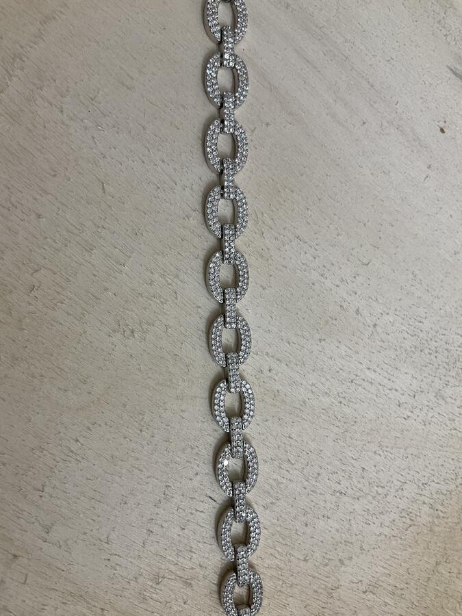 Bracciale maglia catena con zirconi