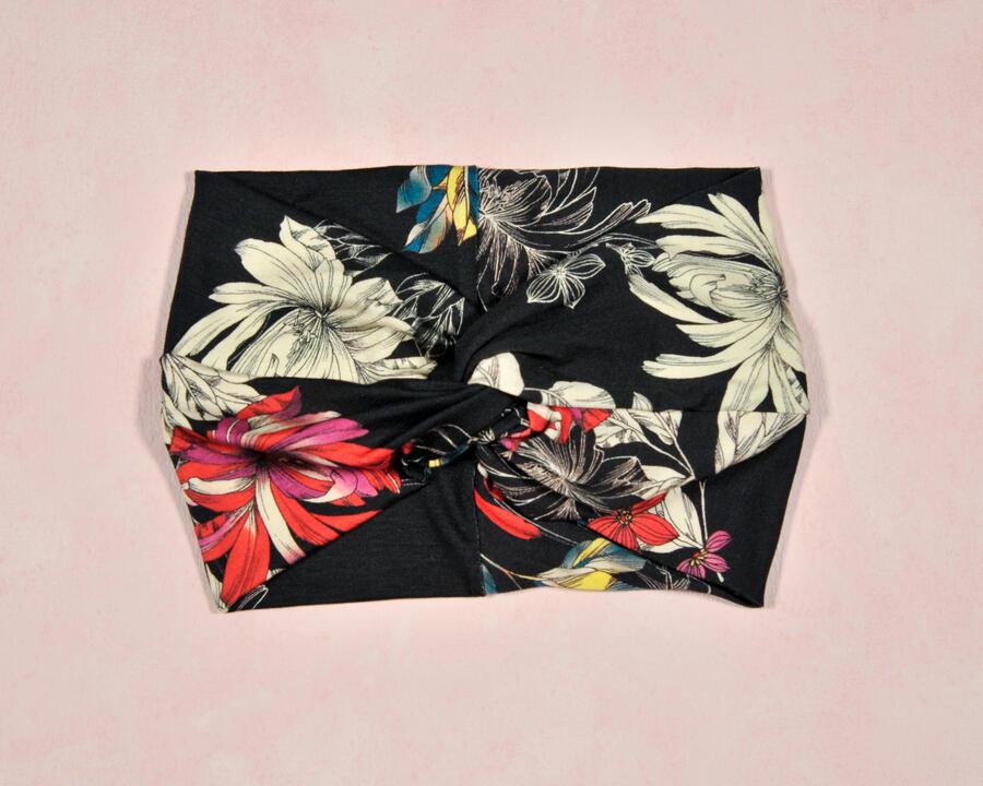 Maxi fascia nero fiori
