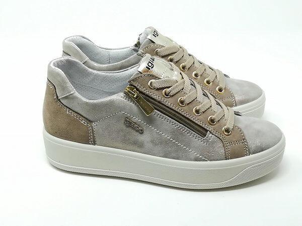 Sneaker Ava Capra Taupe - Igi&Co
