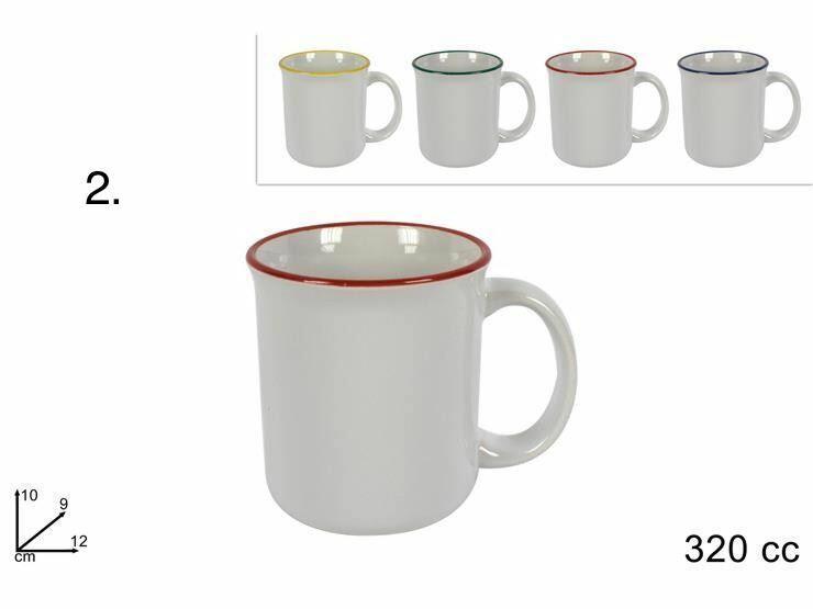 Tazza latte, bordo colorato