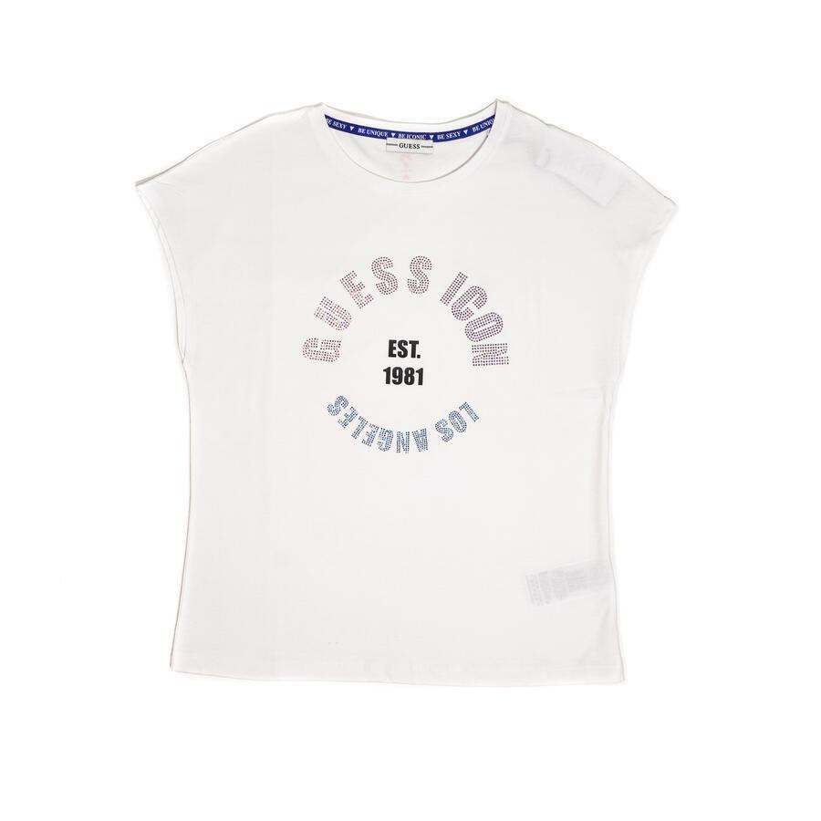 T-SHIRT GUESS CON LOGO FRONTALE IN STRASS  - Colori disponibili: Bianco