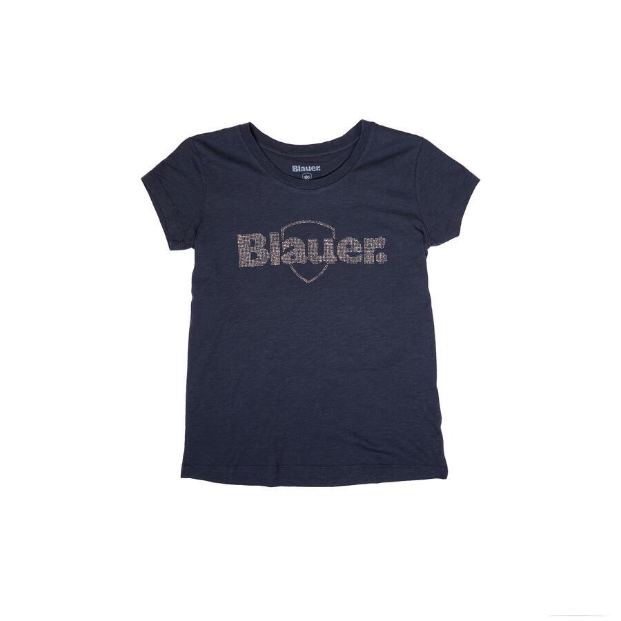 T-SHIRT BLAUER IN COTONE FIAMMATO CON LOGO IN STRASS - Colori disponibili: 2
