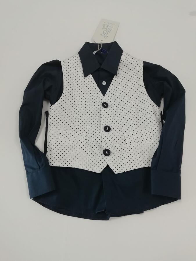 ANACAPRI camicia blu con gilet