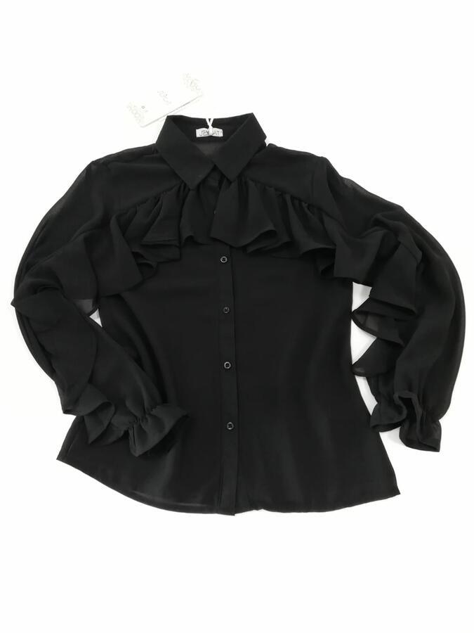 JEYCAT  Camicia nera con volant in chiffon