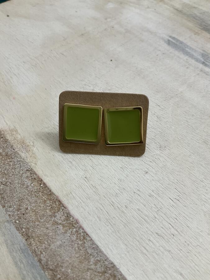 Orecchini bottone mini quadrati