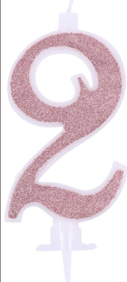 Candeline glitterate rosa 11cm